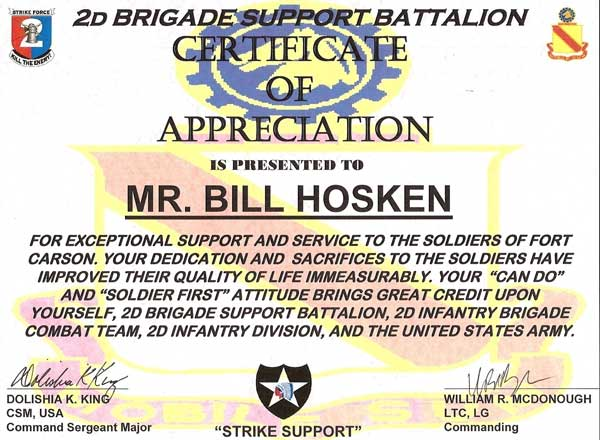 He Received A Certificate Of Appreciation From The US Army For ...